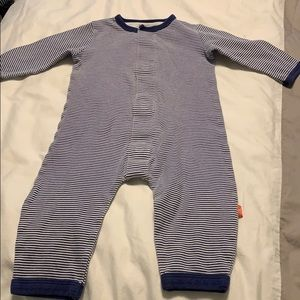 Magnificent Baby One Pieces - Magnetic blue and white striped onesie